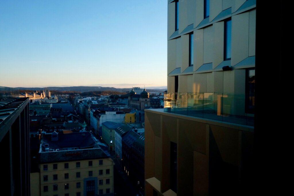 Utsikt över Oslos takåsar från Clarion Hotel The Hub.