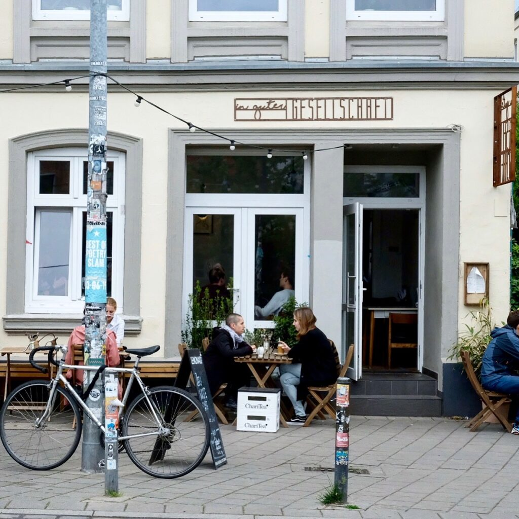 Utsidan av In guter Gesellschaft, zero waste-kafé.